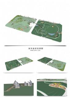 景观公园规划SU透视模型