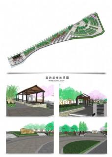 带状公园景观规划SU透视模型