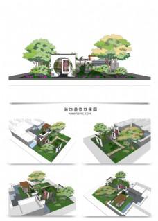 别墅景观园林规划SU模型