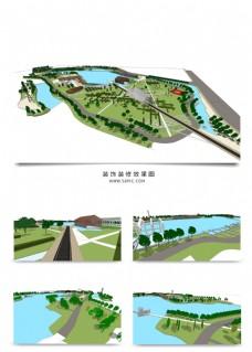 公园湖泊公园景观规划SU模型
