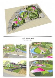 公园景观方案SU透视模型