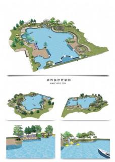 公园湖景观规划SU透视模型