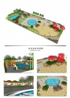 小区公园景观规划SU模型