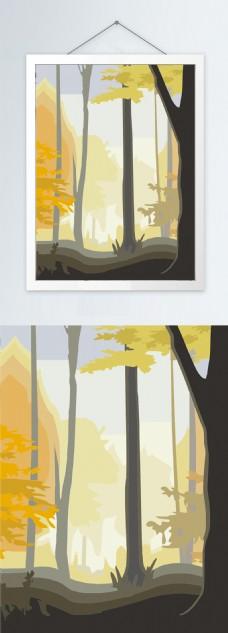 室内森林风景装饰画