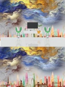 北欧抽象水彩城市背景墙