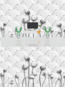 现代简约时尚浮雕花朵背景墙