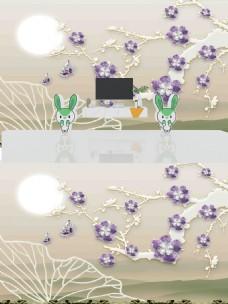 新中式3D浮雕珠宝花朵背景墙
