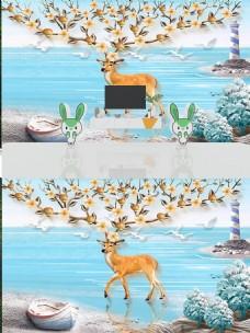 北欧简约时尚麋鹿背景墙