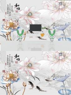 新中式3D浮雕莲花背景墙