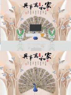 现代简约时尚浮雕花朵孔雀背景墙