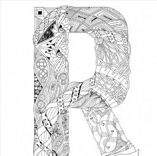 抽象创意花纹字母R