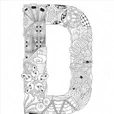 抽象创意花纹字母D