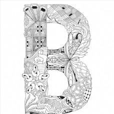 抽象创意花纹字母B