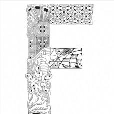 抽象创意花纹字母F
