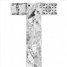 抽象创意花纹字母T