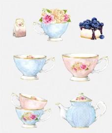 玫瑰茶壶下午茶唯美手绘水彩