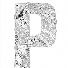 抽象创意花纹字母P