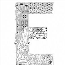抽象创意花纹字母E