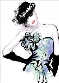 水彩手绘美女