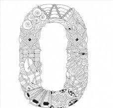 抽象创意花纹字母O