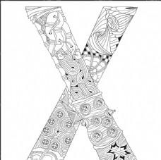 抽象创意花纹字母X