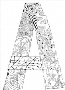 抽象创意花纹字母A
