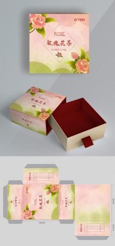 包装插画花茶系列之玫瑰花茶包装盒
