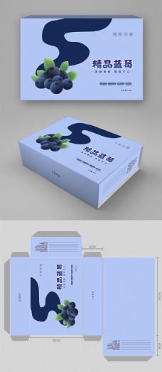 简约大气蓝莓水果包装礼盒设计