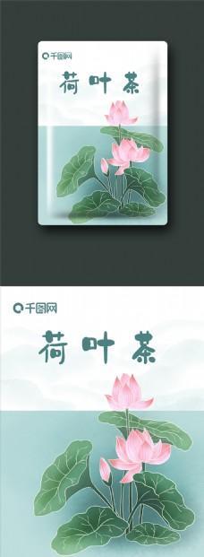 茶叶包装荷叶茶荷韵原创插画