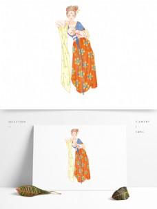 唯美古代美女人物插画素材
