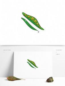 手绘矢量可爱小豌豆