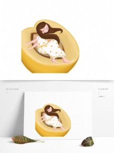 坐在黄桃上的女孩图案