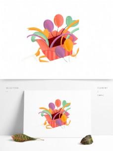 彩带气球礼盒图案元素