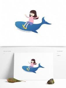 坐在蓝鲸上的女孩图案设计