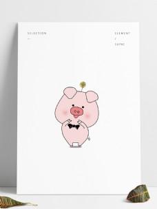 可爱粉红猪猪线稿