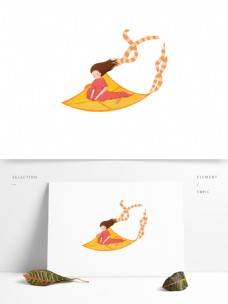 卡通风筝上的女孩图案
