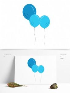 卡通三个蓝色的气球设计
