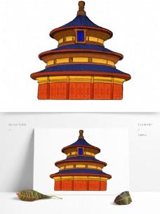 中国旅游日旅游景点天坛祈年殿卡通创意手绘