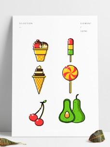 冰棍雪糕冰激凌甜筒樱桃水果元素矢量图标