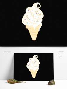 夏天冰激凌卡通扁平化融化的冰淇凌