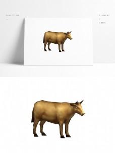 黄牛动物模型带贴图png白底图