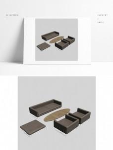 办公家具组合模型