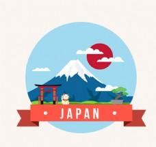 创意日本风景插画矢量素材富士山