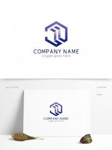 蓝色创意方形盒子广告地产logo