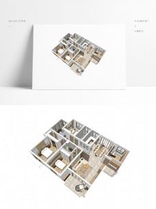 四室两厅户型住宅SU透视模型