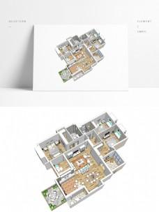 大平层户型住宅SU透视模型
