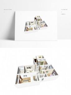 四房户型住宅设计SU模型