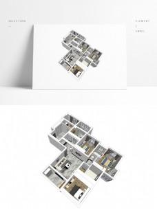 大平层户型住宅SU模型