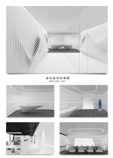 高级黑白灰科技风企业办公空间设计效果图