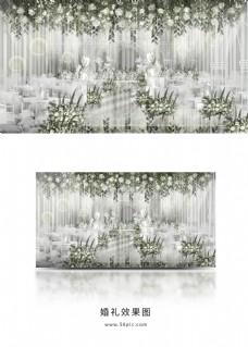 清新白绿婚礼效果图